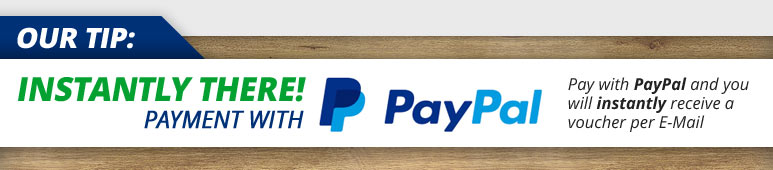Instantly there! Payment with Paypal