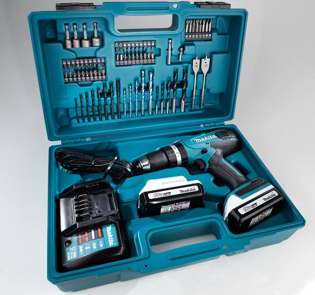 makita akku schlagbohrschrauber hp457dwe 18 volt tlg set im koffer ebay. Black Bedroom Furniture Sets. Home Design Ideas