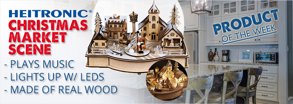 Heitronic LED Wooden Christmas Market with Music