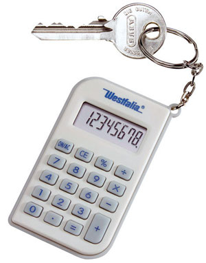 Calculator with key fob